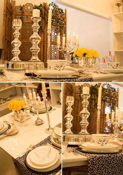 Detalhes de mesa posta com caminho de mesa