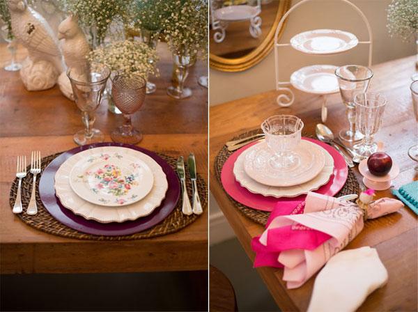Mesa posta em tons de rosa
