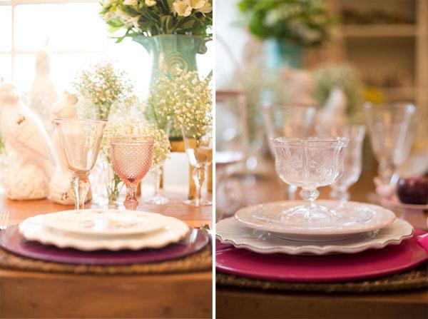 Mesa posta em tons de rosa com bico de jaca rosa