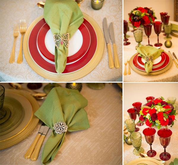 Mesa posta Vermelho e guardanapo verde